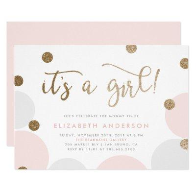 It's a Girl! | Pink & Gold Confetti Baby Shower Invitations