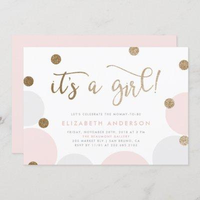 It's a Girl!   Pink & Gold Confetti Baby Shower Invitation
