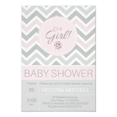It's a Girl Pink/Grey Chevron Baby Shower Invitations