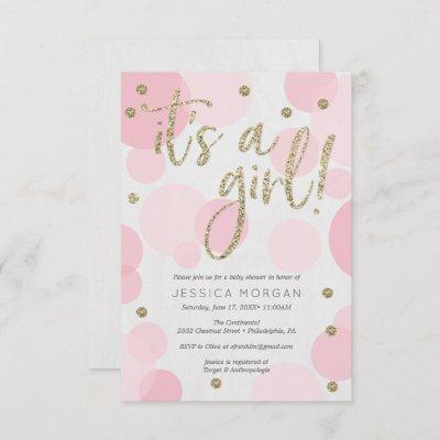 It's A Girl Pink Polka Dot Baby Shower Invitations