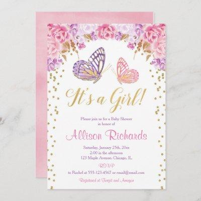 It's a girl pink purple gold elegant butterfly invitation