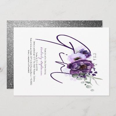 It's A Girl Purple Flowers Baby Shower Invitation