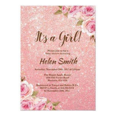 It's A Girl Rose Gold Glitter Floral Baby Shower Invitation