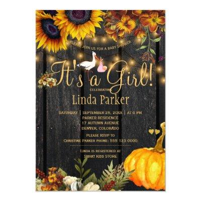 It's a girl rustic fall sunflower baby girl shower invitation