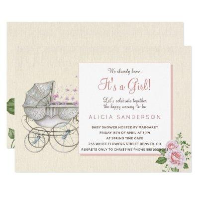 It's a girl vintage baby carriage shower party invitation