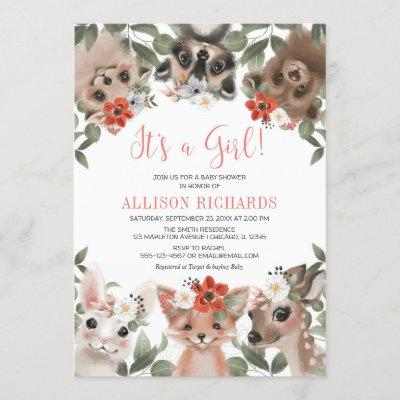 It's a Girl woodland animals forest baby shower Invitation