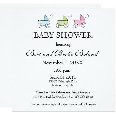 It's Triplets Baby Shower Invitation