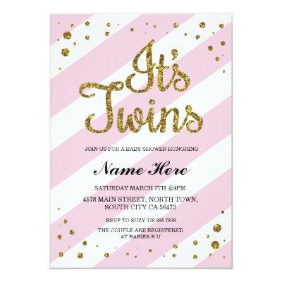 It's Twins Girls Baby Shower Pink Gold Invite
