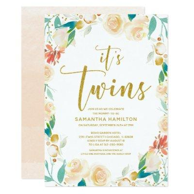 It's Twins Peach Gold Glitter Floral Baby Shower Invitations