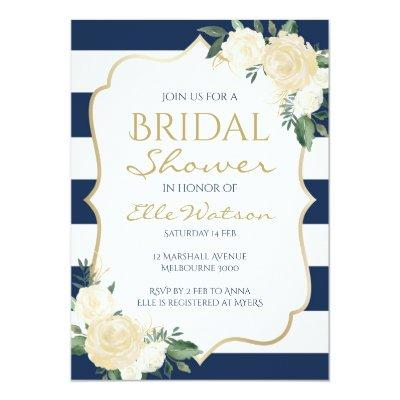 Ivory Floral Bridal Shower Invitation, Wedding Invitation