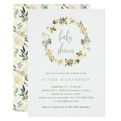 Ivory Floral with Green | Watercolor Baby Shower Invitations