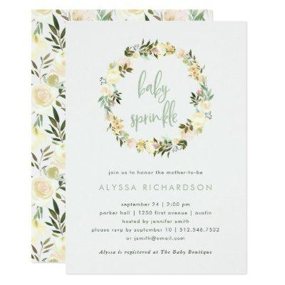 Ivory Floral with Green | Watercolor Baby Sprinkle Invitations