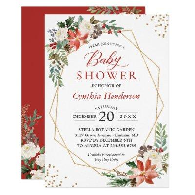 Ivory Red Poinsettia Floral Christmas Baby Shower Invitation
