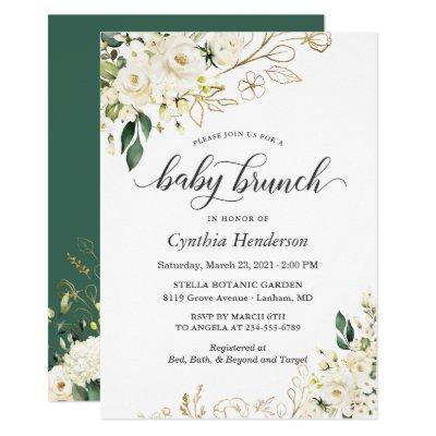 Ivory White Rose Floral Baby Shower Brunch Invitation