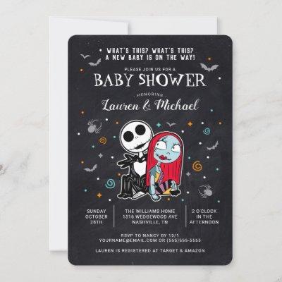 Jack and Sally Chalkboard Baby Shower Invitation