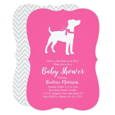 Jack Russell Terrier Dog Baby Shower Pink Girl Invitation