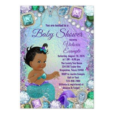Jewel Mermaid African Mermaid Baby Shower Invitation