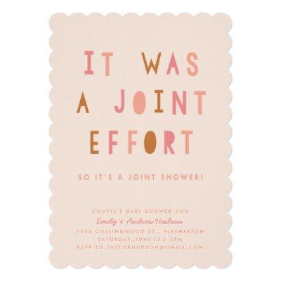 Joint Effort Couple's Baby Shower Invitations Blush