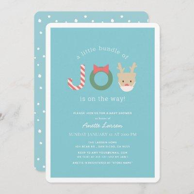 Joy Reindeer with Mask Blue Holiday Baby Shower Invitation