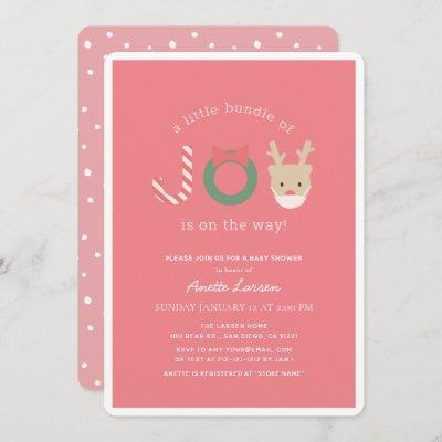 Joy Reindeer with Mask Pink Holiday Baby Shower Invitation