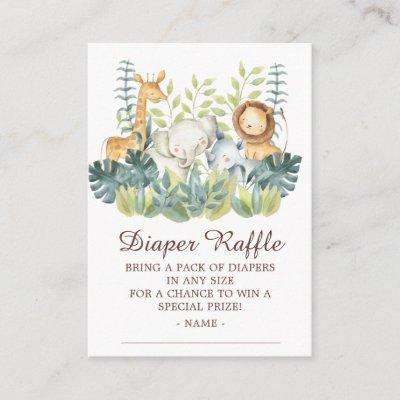 Jungle Animals Baby Shower Diaper Raffle Enclosure Card