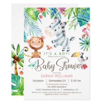 Jungle Animals Baby Shower Invitation, Boy or Girl Invitation