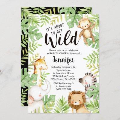 Jungle Animals Baby Shower Invitation Safari Baby