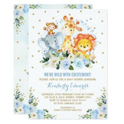 Jungle Animals Blue Gold Floral Safari Baby Shower Invitation