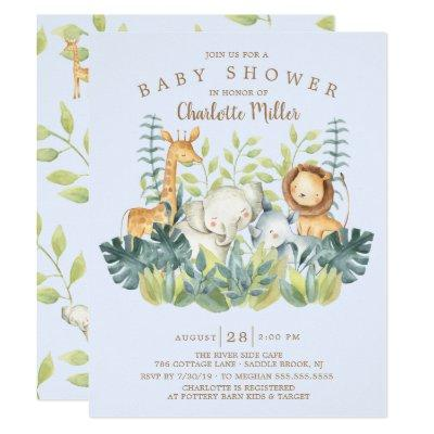 Jungle Animals Boys Baby Shower Invitation