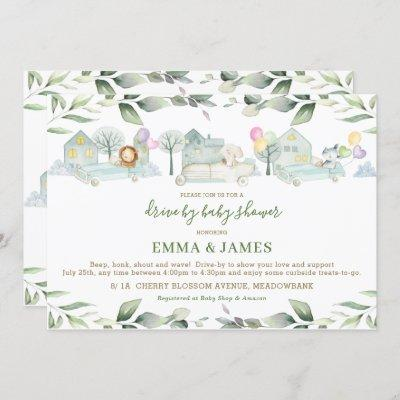Jungle Animals Cars Greenery Drive By Baby Shower Invitation