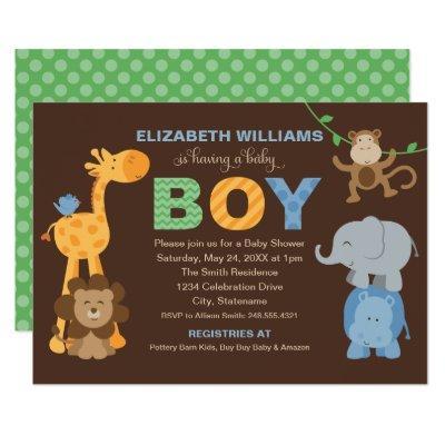 Jungle Animals for Boy | Brown Baby Shower Invitation