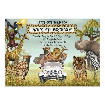 Jungle Animals Safari Birthday Party Invitations