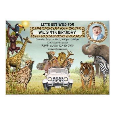 Jungle Animals Safari Birthday Photo Invitations