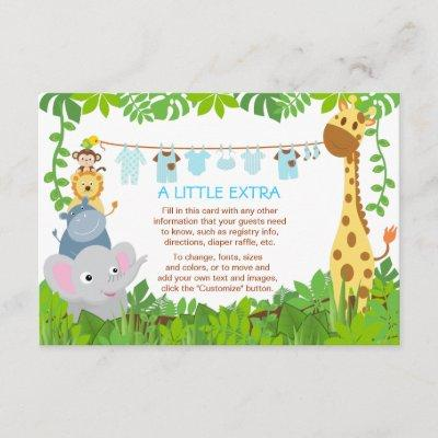 Jungle Animals Safari Boy Baby Shower Insert Card