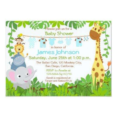 Jungle Animals Safari Boy Baby Shower Invitations
