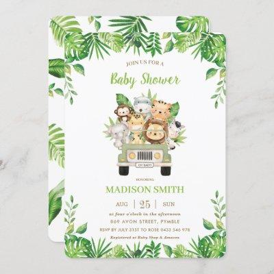Jungle Animals Safari Car Greenery Baby Shower Invitation