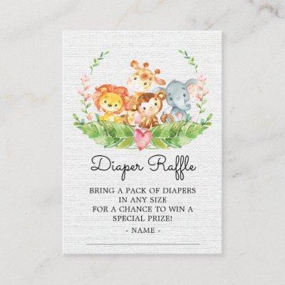 Jungle Animals Shower Diaper Raffle Ticket Enclosure Card
