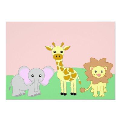 Jungle Baby Animals Baby Shower Invitations Blank