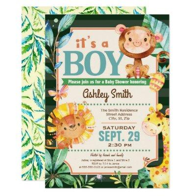 Jungle Baby Shower Invitations Boy