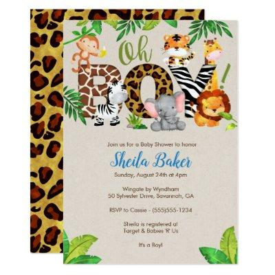 Jungle Baby Shower Invitations - Boy Baby Shower
