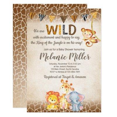 Jungle Baby Shower Invitations, Boy Elephant Baby Invitations
