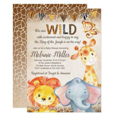 Jungle Baby Shower Invitation, Boy Elephant Baby Invitation