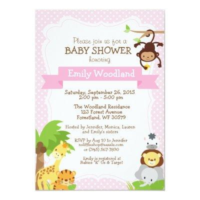 Jungle Baby Shower invitation pink
