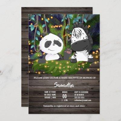 Jungle baby zebra panda bear vine greenery lights invitation