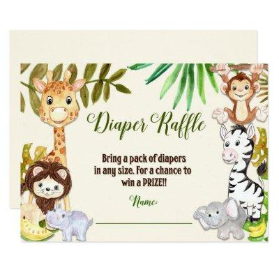 Jungle Diaper Raffle, Safari Diaper Raffle Invitations