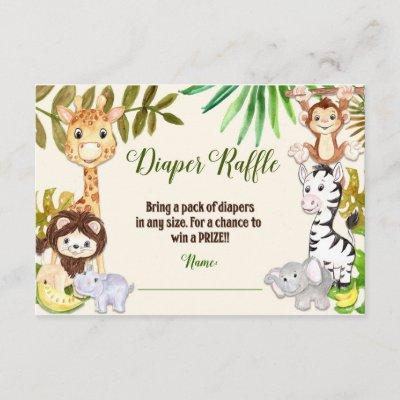 Jungle Diaper Raffle, Safari Diaper Raffle Invitations
