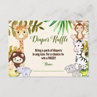 Jungle Diaper Raffle, Safari Diaper Raffle Card