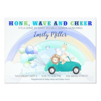 Jungle drive by baby shower invitation boy