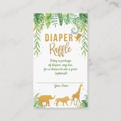 Jungle Elephant Baby Shower Diaper Raffle Card