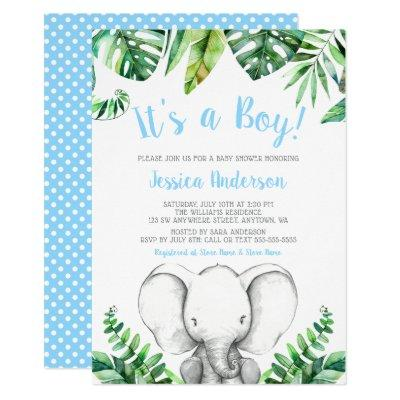 Jungle Elephant Boy Baby Shower Invitations